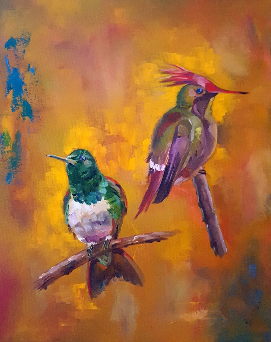 Bhavna Misra Oil Hummingbirds