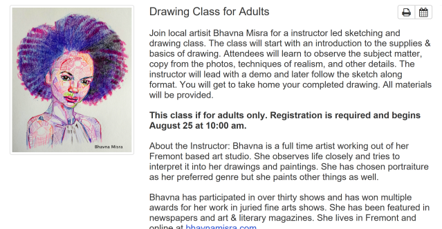 Drawing Class for Adults at Centerville