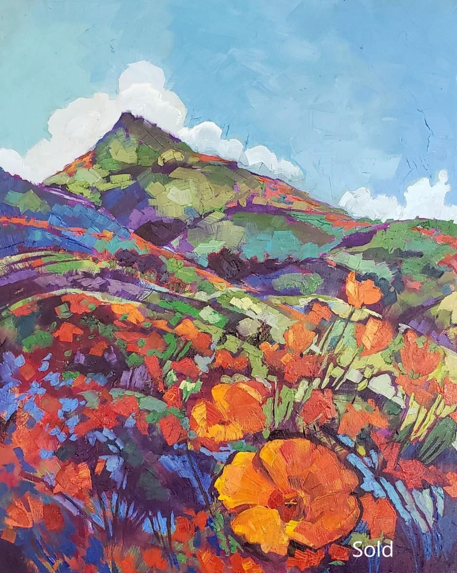 Bhavna Misra 20 x 16 in Oil Poppy Fields